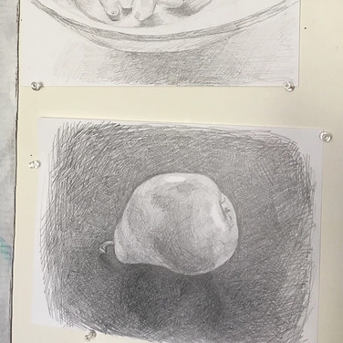 """Evelyn Beliveau, """"Fruity Drawings from Quarantine"""", 2020, pencil on paper"""