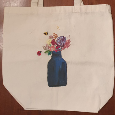 Sarah Gumgumji, Environmental Concerns, Painted Object Sculpture, paint and thread on tote bag