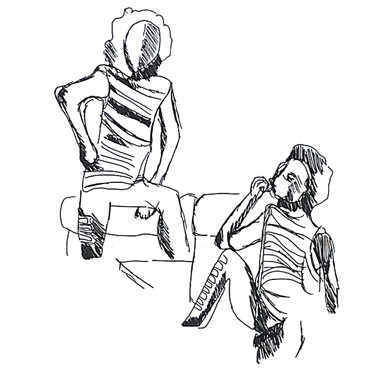 August L., Figure Drawing 1 (Zoom 4/13/20), pen on paper