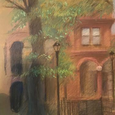 Felix Plaza, Cooper Square Park, 2020, pastel on paper