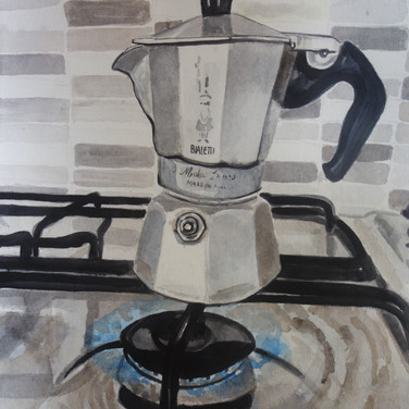"""Meridith McNeal, Magical Things from Trastevere Coffee Pot, 2019, watercolor on paper, 12x12"""""""
