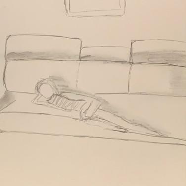 Blaze Sirius-El, Figure Drawing 2 (Zoom 4/13/20), pencil on paper