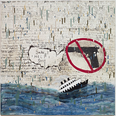 """Squeak Carnwath, Message in a Bottle, 2018 Oil and alkyd in a bottle, 30 × 30"""""""