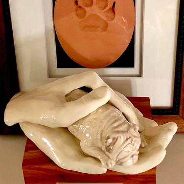 "Louisa Marr, ""Hands holding Hudson, a Memorial"""