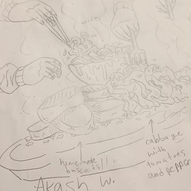 "Akash W., ""Quarantine Dinner"", 2020, pencil on paper"