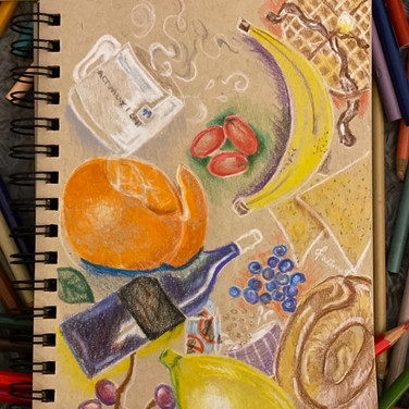 """Fatima Traore, """"Quarantine Menu"""", 2020, colored pencil on paper"""