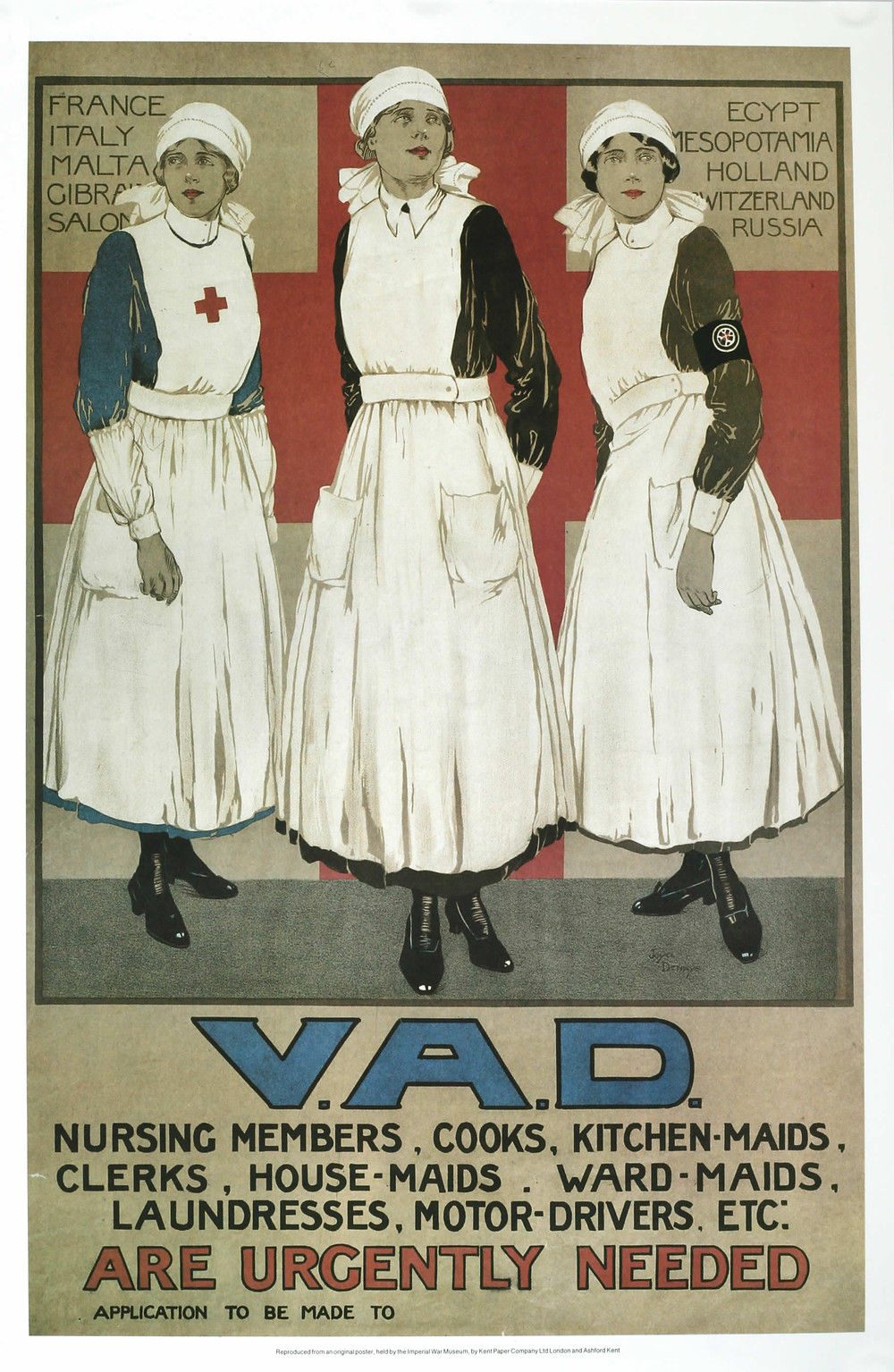 The Voluntary Aid Detachment (VAD) was founded in 1909 with the help of the Red Cross and Order of St. John. By 1914 there were over 2,500 Voluntary Aid Detachments in Britain. Of the 74,000 volunteers in 1914, two-thirds were women and girls. Female volunteers over the age of twenty-three and with more than three months' hospital experience were accepted for overseas service.