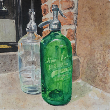 """Meridith McNeal, """"Magical Things from Quarantine Brooklyn Seltzer"""", 2020, watercolor on paper, 12x12"""""""