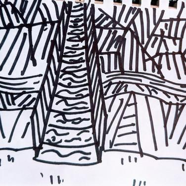 Zeke Brokow, Guided Visualization (bridge), 2020, sharpie on paper