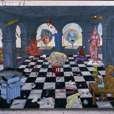 "Jane HammondThe Soapstone Factory 4, 1999 Oil on canvas with mixed media, 74"" x 98"""