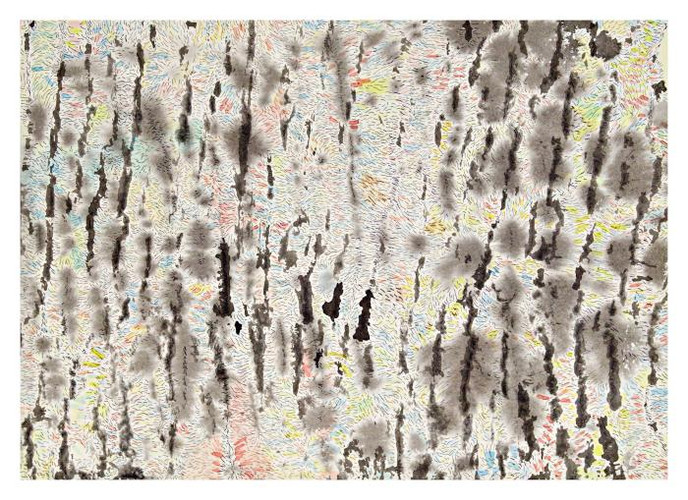 Emna Zghal, Imaginary Bark, 2004, ink and watercolor, 10x4""