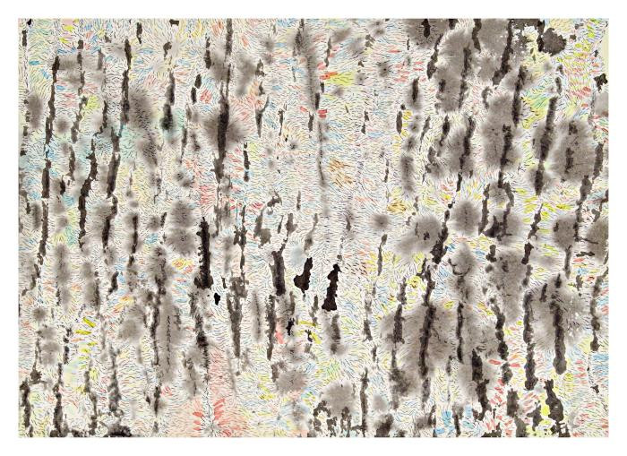 """Emna Zghal, Imaginary Bark, 2004, ink and watercolor, 10x4"""""""