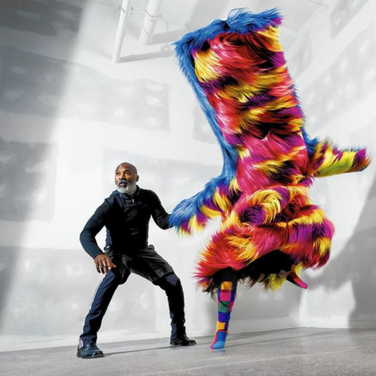 American artist Nick Cave with one of his Soundsuits.