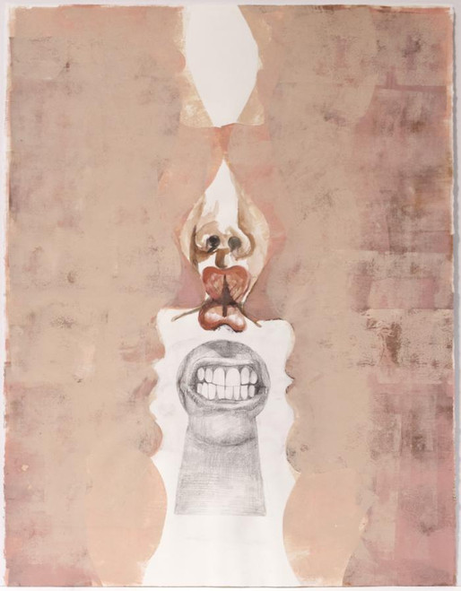 """Joanne Howard, Portraits #14, 2011, Acrylic, printing ink, graphite on paper, 30x22"""""""