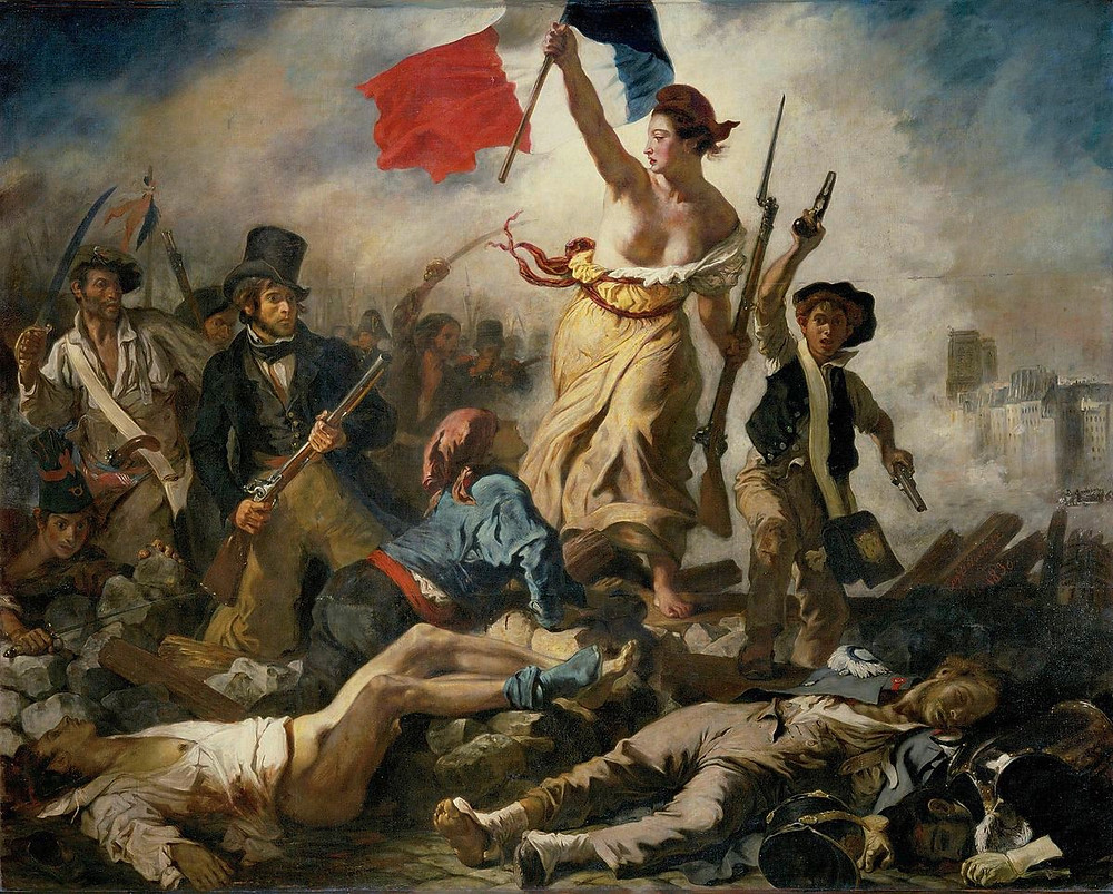 Commemorating the July Revolution of 1830, which toppled King Charles X of France. A woman of the people with personifying the concept of Liberty leads a varied group of people forward over a barricade and the bodies of the fallen, holding the flag of the French Revolution which again became France's national flag after these events – in one hand and brandishing a bayonetted musket with the other.