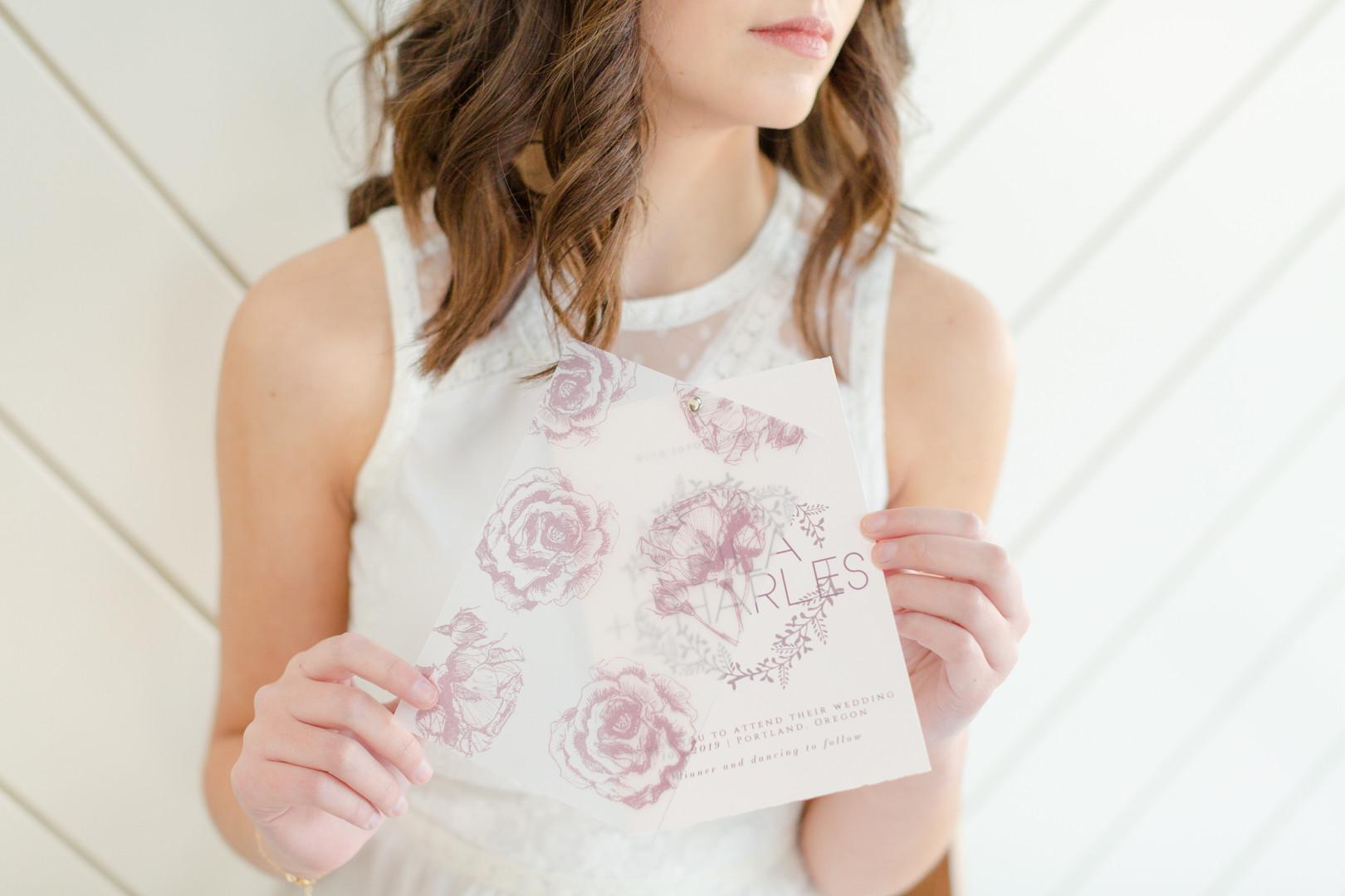 Andrea Woodlee Design Custom Wedding Invitations Vellum Overlay Transparent