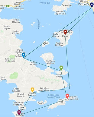One week charter route Saronic