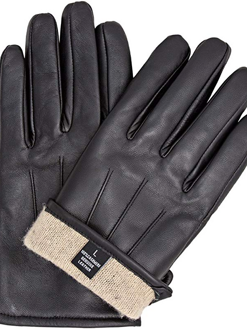 Sandory Black Men's 100% Cashmere Lined Genuine Leather Gloves