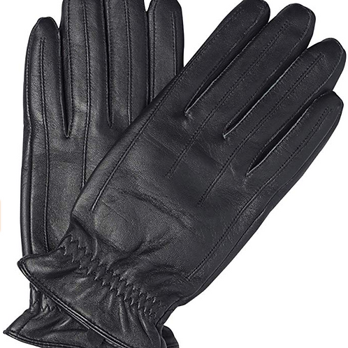 Sandory Black Men's Gathered 100% Cashmere Lined Genuine Leather
