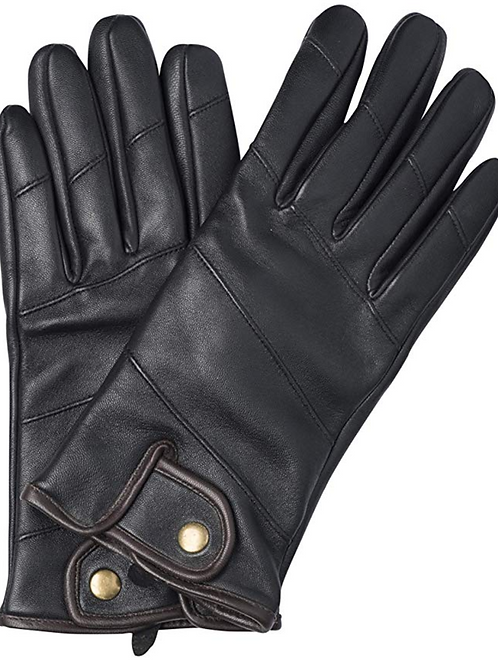 Sandory Black Men's Brown Trim 100% Cashmere Lined Genuine Leather