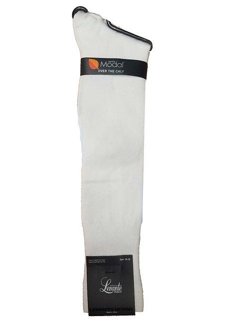 Levante Men's Modal Over The Calf Socks White LV-105