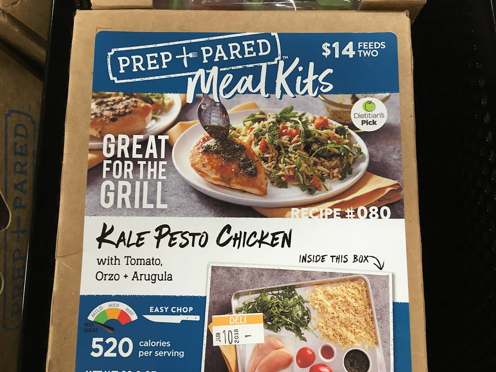 Kroger meal kit, kale pesto chicken