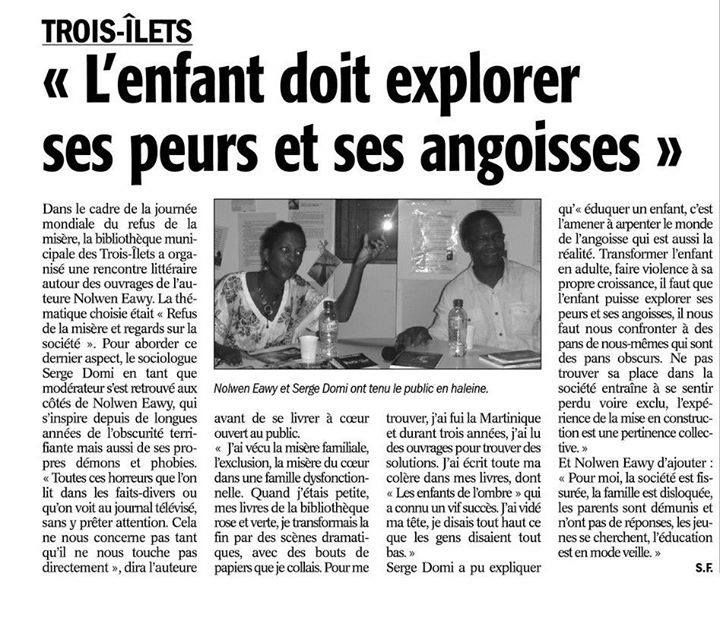 Intervention auteure France-Antilles
