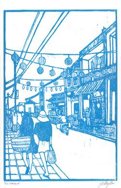 Street Scene in Blue