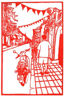 Street Scene in Red