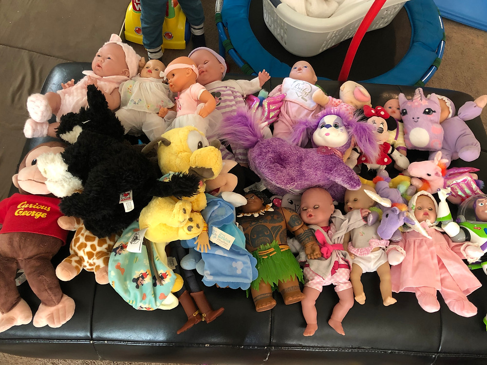 pretend patient waiting room of stuffed animals and dolls