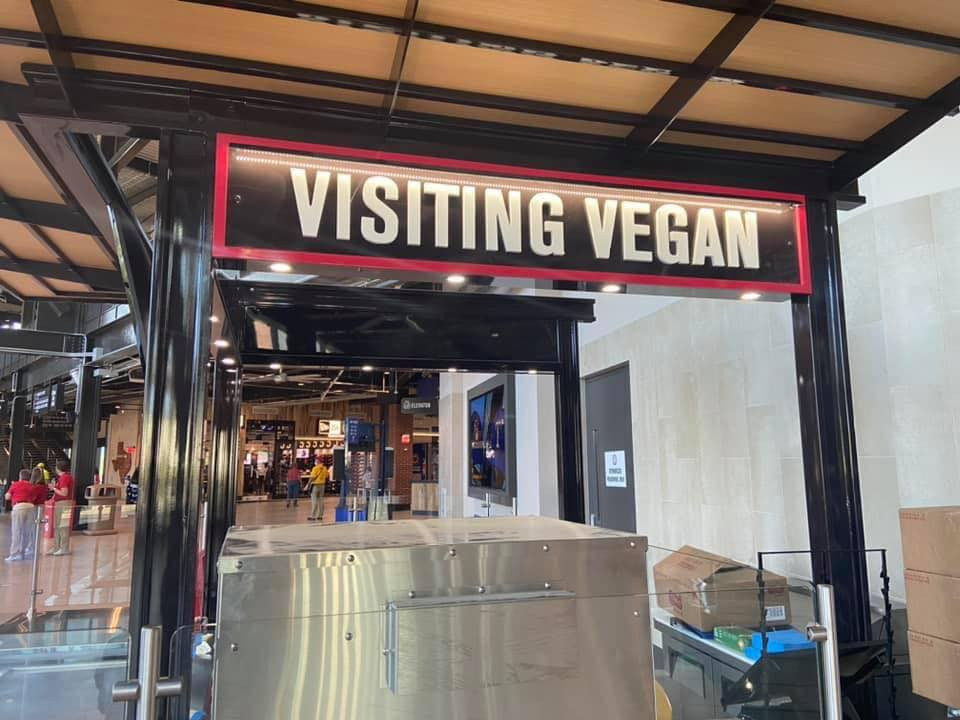 A picture of the Visiting Vegan sign