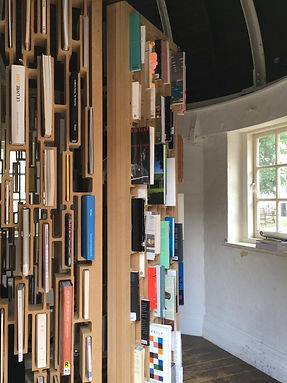 Ways of Worldmaking, MDF, books, 2019, 216 x 550 cm, Sophie Bouvier Ausländer