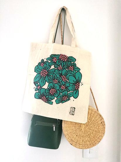 Floral tote bag, jungle green