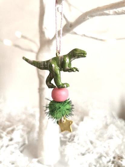 Rewild dinosaur bauble green/pink