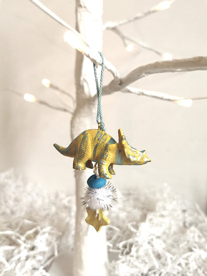 Rewild dinosaur bauble yellow/blue