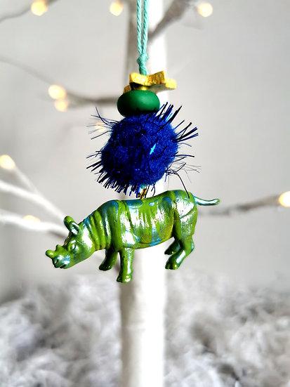 Rewild rhino bauble green/blue