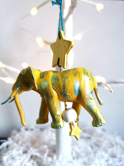 Rewild elephant bauble yellow/blue