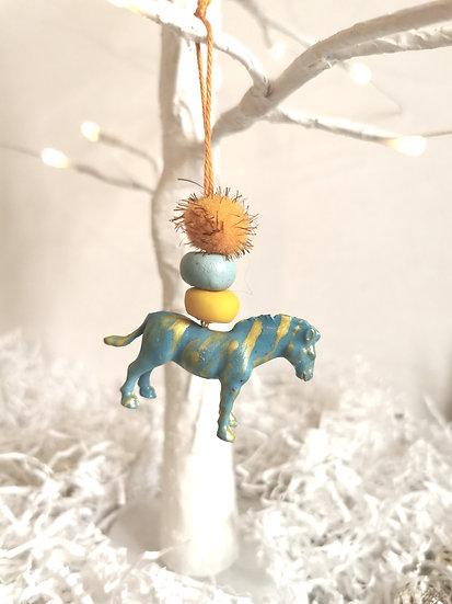 Rewild horse bauble blue/gold