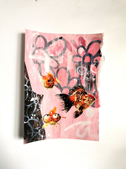 """Emancipation- Goldfish'""""Swimming with the flowers"""" (unframed)"""