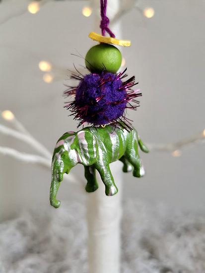 Rewild elephant bauble green/purple