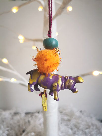 Rewild hippo bauble purple/yellow