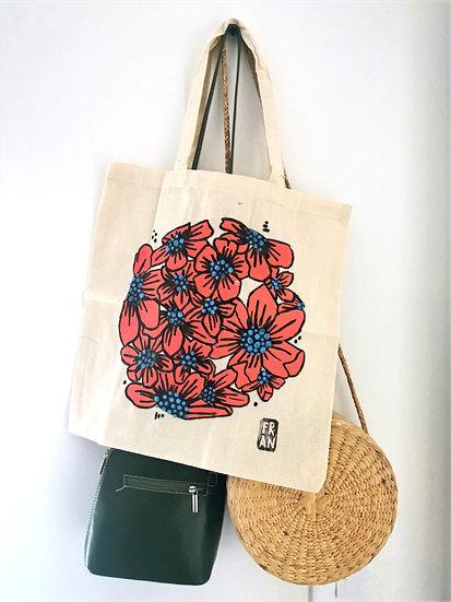 Floral tote bag, firecracker orange