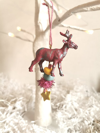 Rewild reindeer bauble pink/yellow/blue