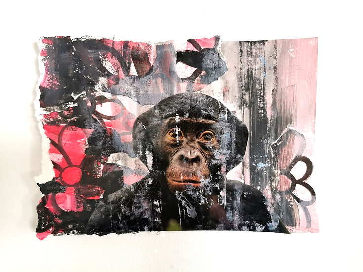 "Emancipation- Chimpanzee= ""Holding trees, hugging flowers"" (unframed)"