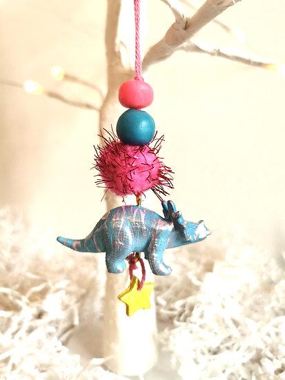 Rewild dinosaur bauble blue/pink