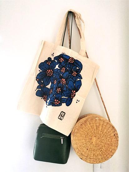 Floral tote bag, cobalt blue 2