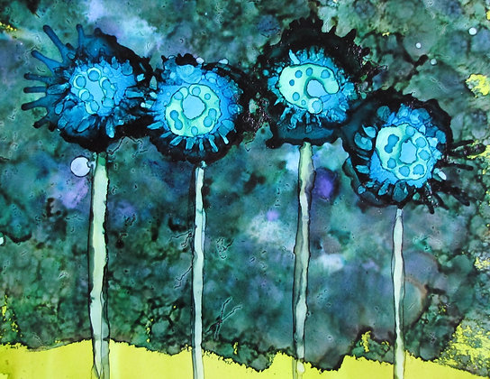 """""""Blue Flowers"""" signed print"""