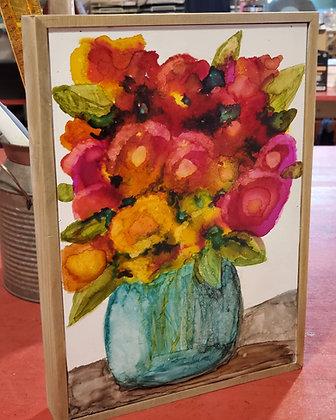 """""""Jar of Blooms""""  8x10 wood cradled board"""