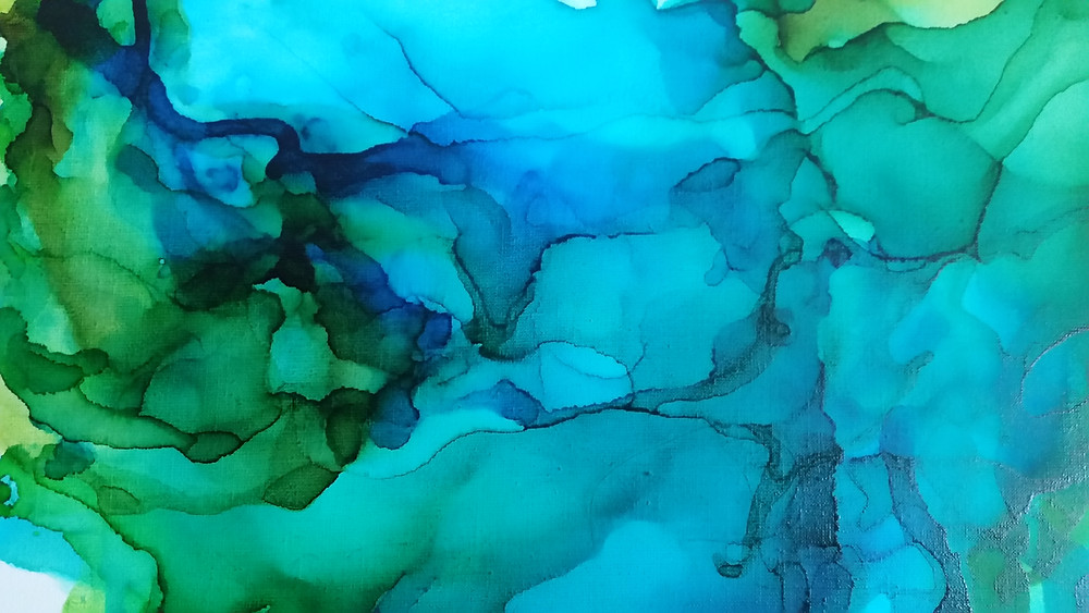 alcohol ink abstract on canvas