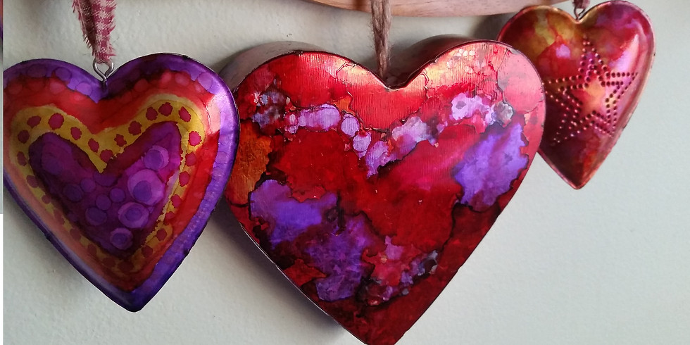 SOLD OUT: Metal Hearts with Alcohol Inks